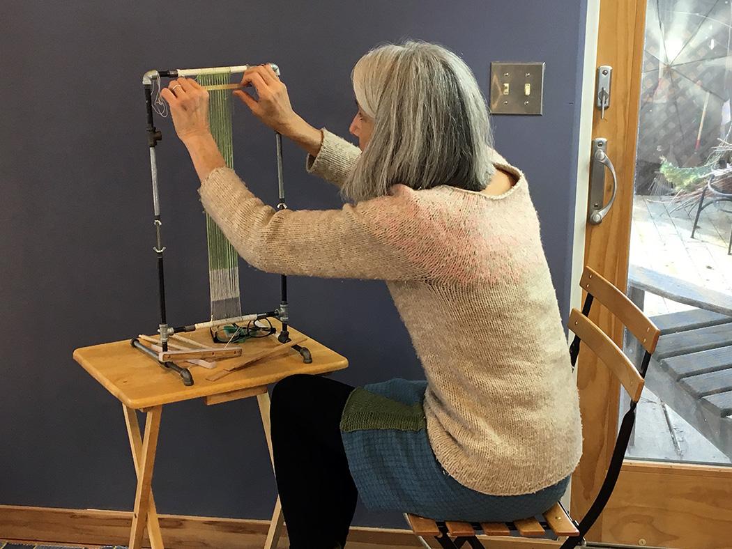 Sarah Swett starting the tiny house tapestry
