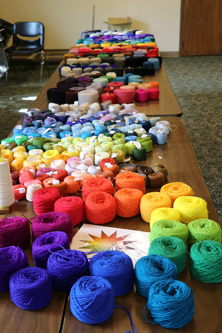 Yarn tables from Colorado 2018 tapestry retreat