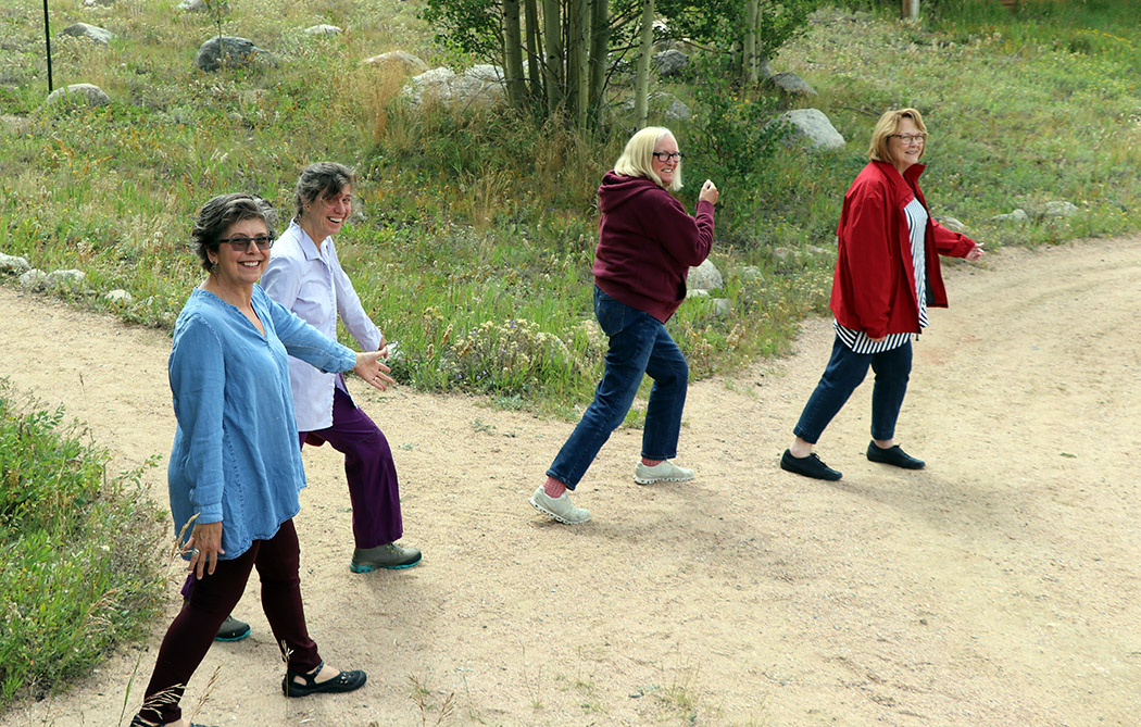 Carol, Michelle, Audrey, and Elizabeth goofing off