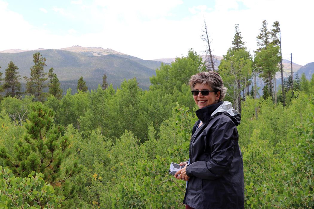 Carol overlooking Pingree Park
