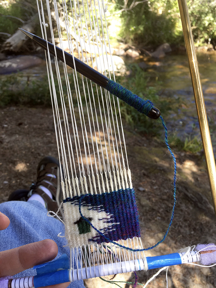Rebecca Mezoff, tapestry diary 2018, four selvedge warping technique, handspun wool weft When it is cold in Colorado, it is okay to wear socks with sandals.