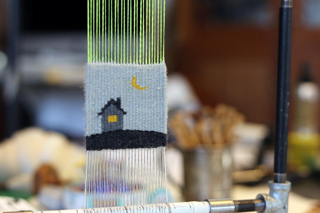 Sarah Swett, four selvedge tapestry on the loom