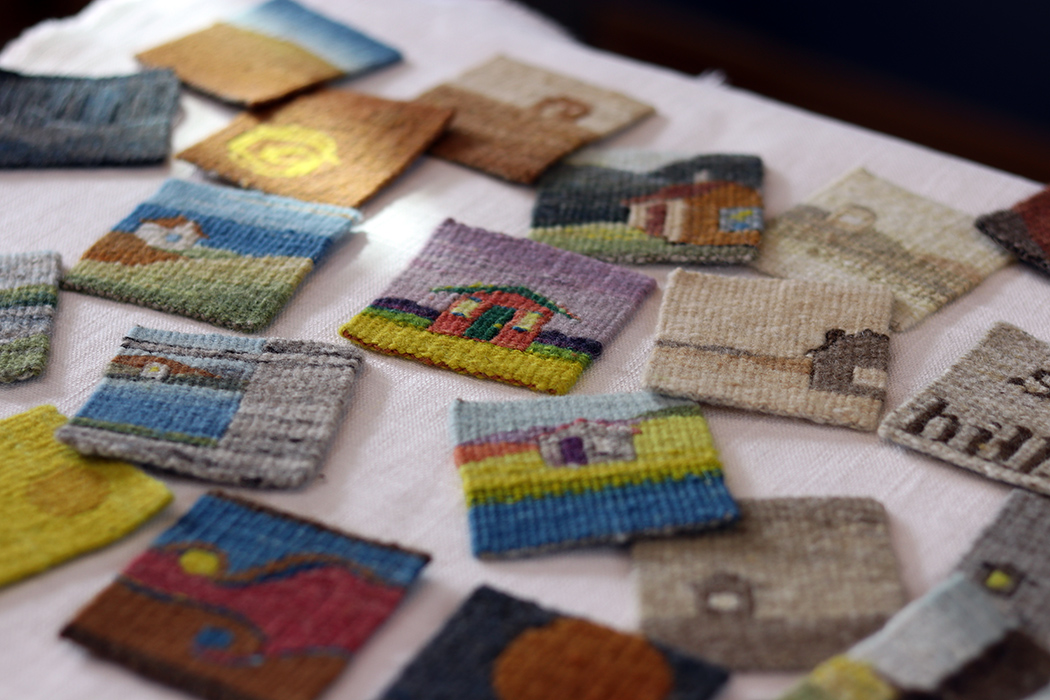 Sarah Swett, tiny house four selvedge tapestries