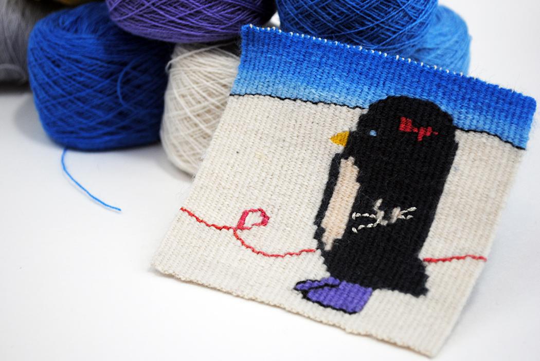 Rebecca Mezoff,  Bootsy , tapestry diary piece, 4 x 4 inches