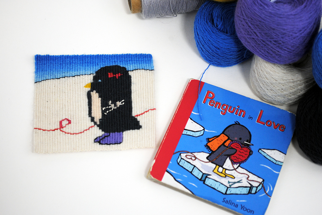 Rebecca Mezoff,  Bootsy,  tapestry diary tapestry with Salina Yoon's children's book.