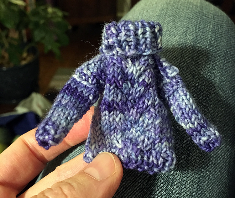 Tiny sweater from  Little Christmas Decorations to Knit & Crochet  by Sue Stratford & Val Pierce
