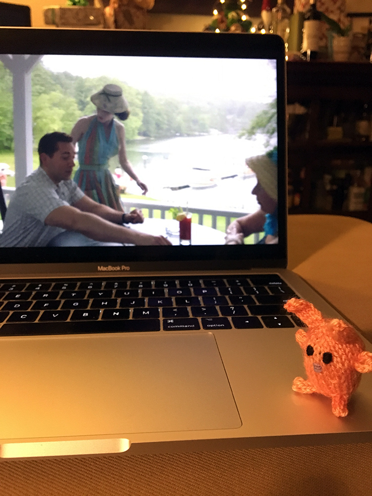 The bunny is watching  The Marvelous Mrs. Maisel  and trying to convince us not to binge-watch it. We didn't. Still on episode 4. (Don't tell me what happens!)
