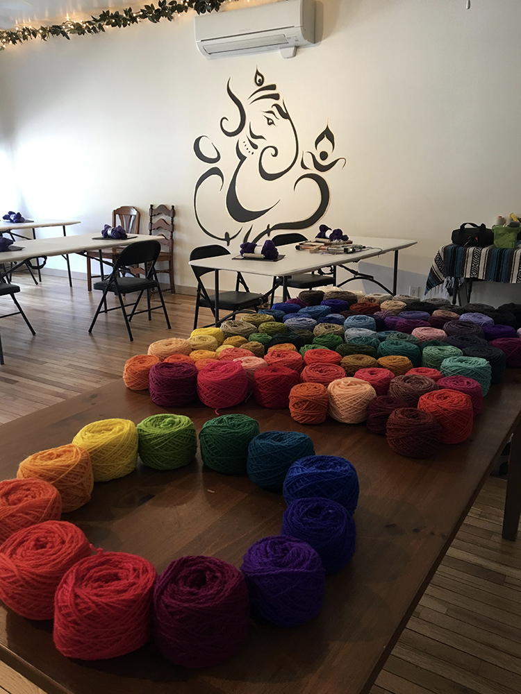 Yarn table at a past Vermont retreat