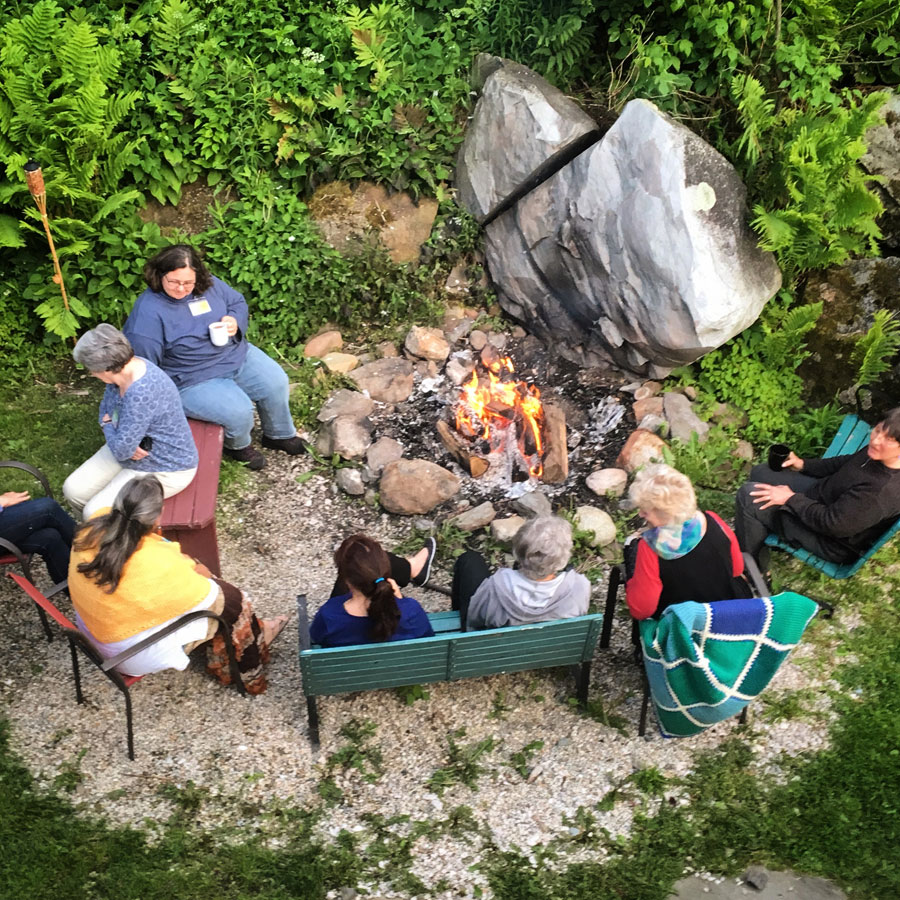 Backyard fire pit at Good Commons