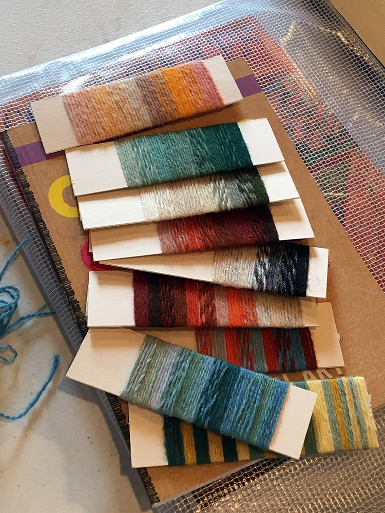 Yarn wraps can be a quick way to test yarn combinations