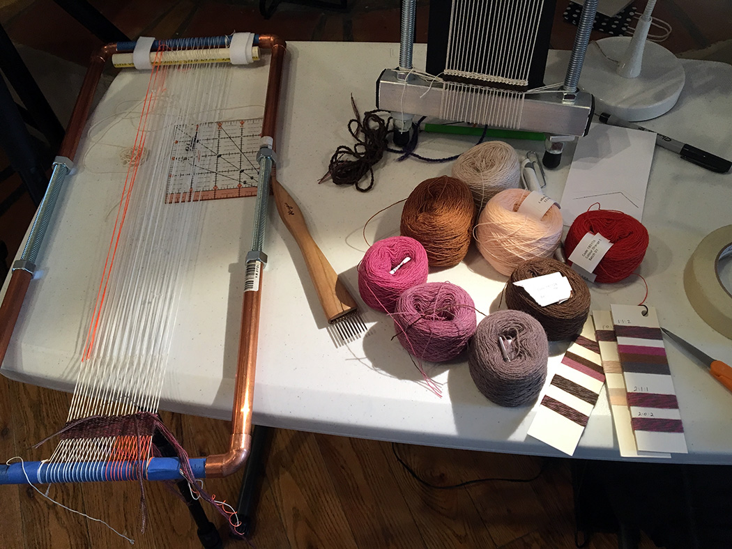 Yarn wraps and small tapestry in progress