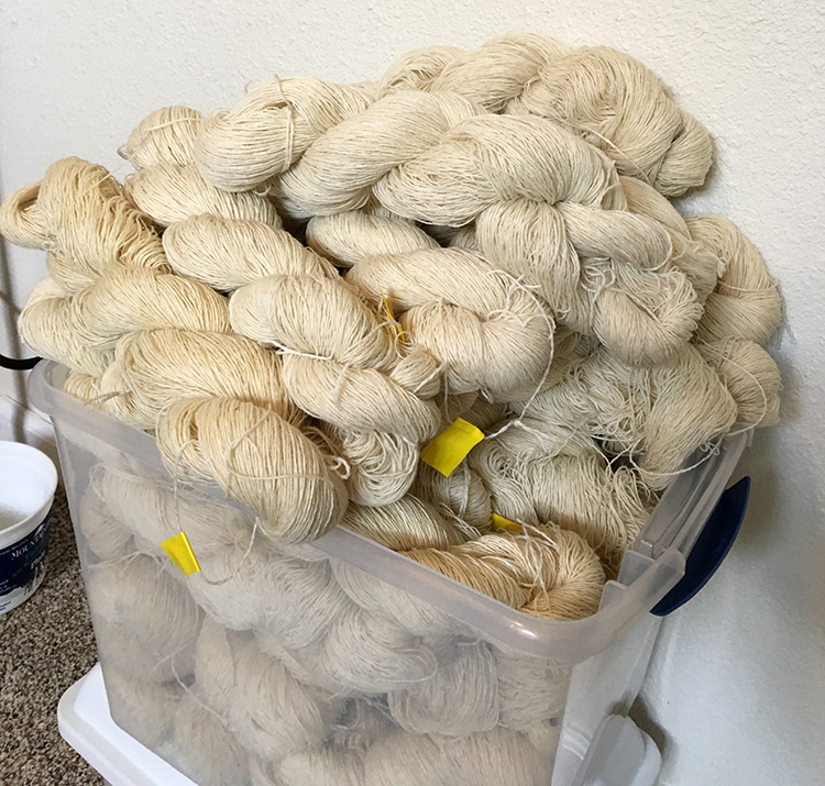 Piles of skeins ready for dyeing