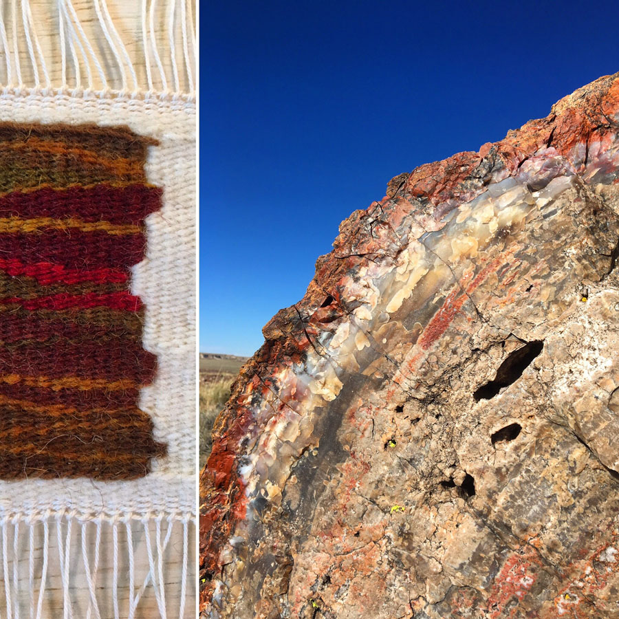 Rebecca Mezoff, Petrified Forest artist residency weaving, Day #3