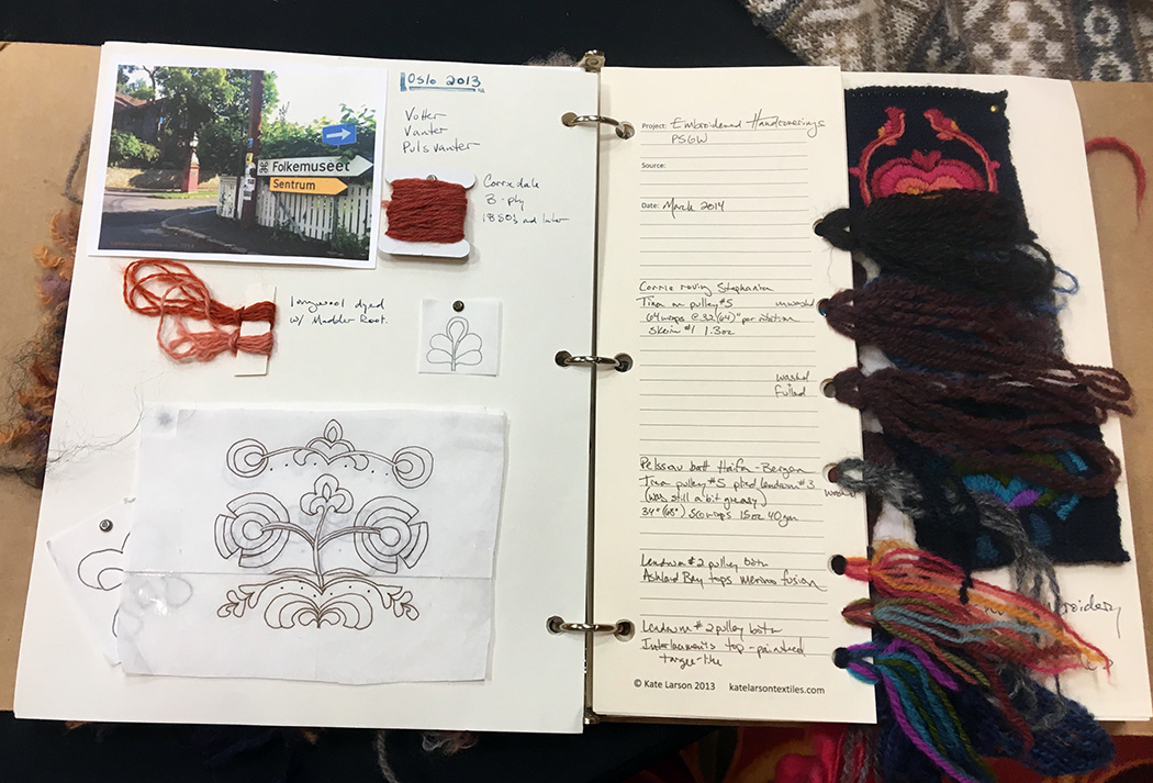 Kate Larson spinning and fibers notebook