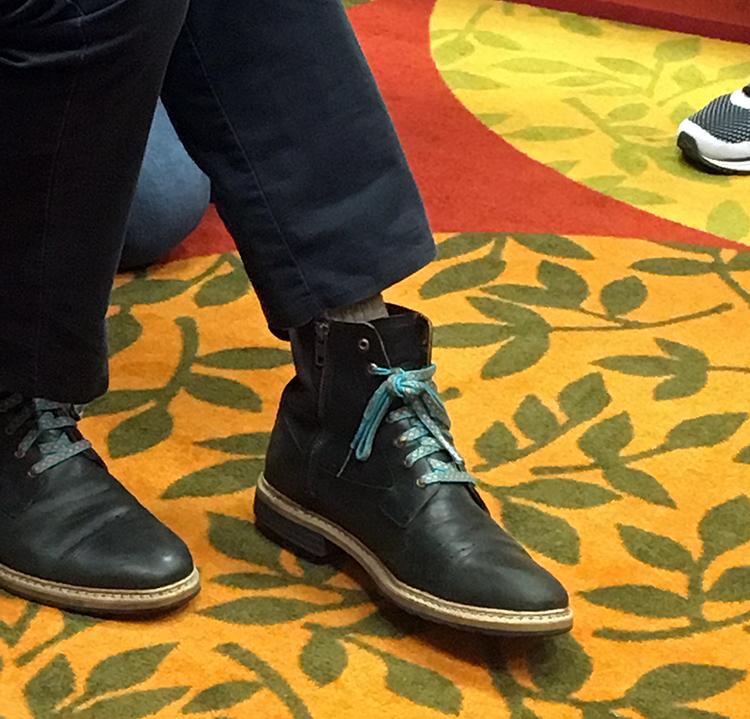 John Mullarkey, tablet woven shoelaces