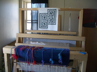 Weaving on my Rio Grande walking loom
