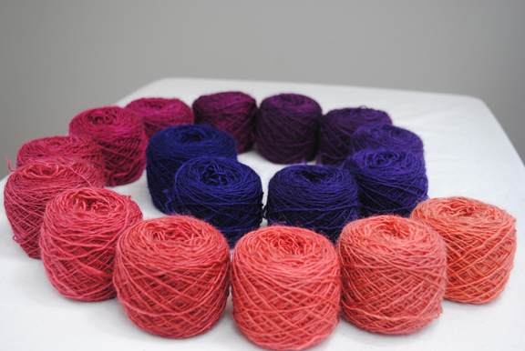 Handspun, hand-dyed tapestry yarn