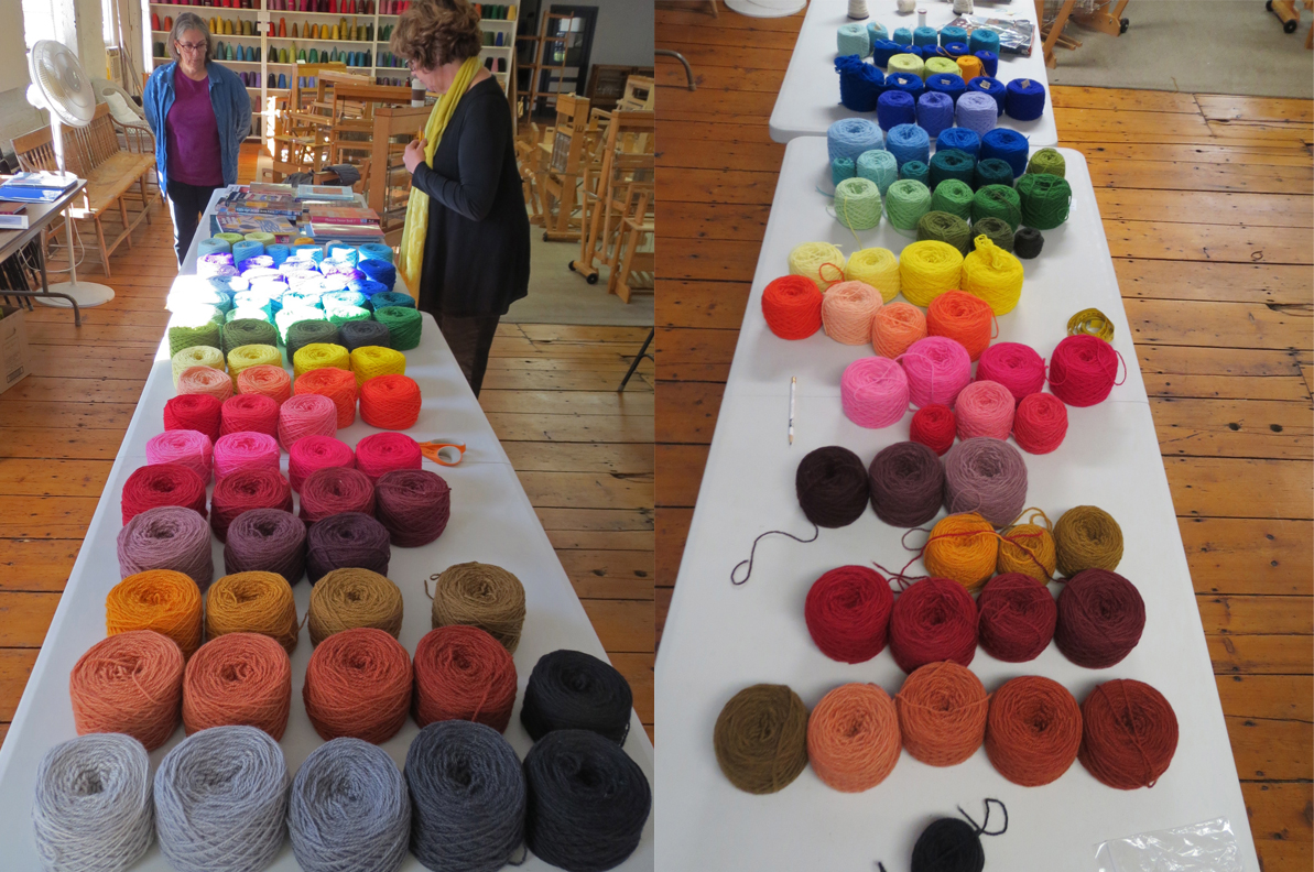Workshop yarn table before and after workshop