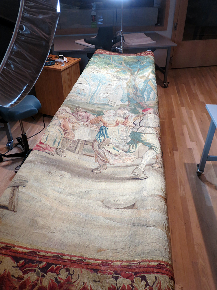 Tapestry being restored at the Denver Art Museum, 2015