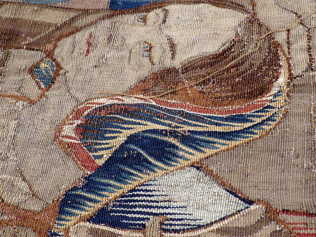 Birth of the Prince of Peace,  detail, early 16th century Flemish tapestry being restored at the Denver Art Museum, 2015
