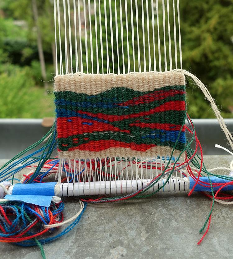 The finished four selvedge tapestry. weaversbazaar fine wool yarn, cotton warp.