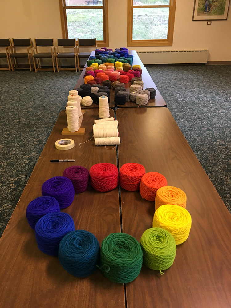 Yarn table almost finished, Colorado 2019 Foundations Tapestry Retreat