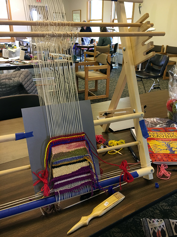 Lynda C valiantly struggled with this tapestry loom and by the end of the retreat, had made some great headway! In future I will provide an explanatory video about which loom to choose before the retreat!