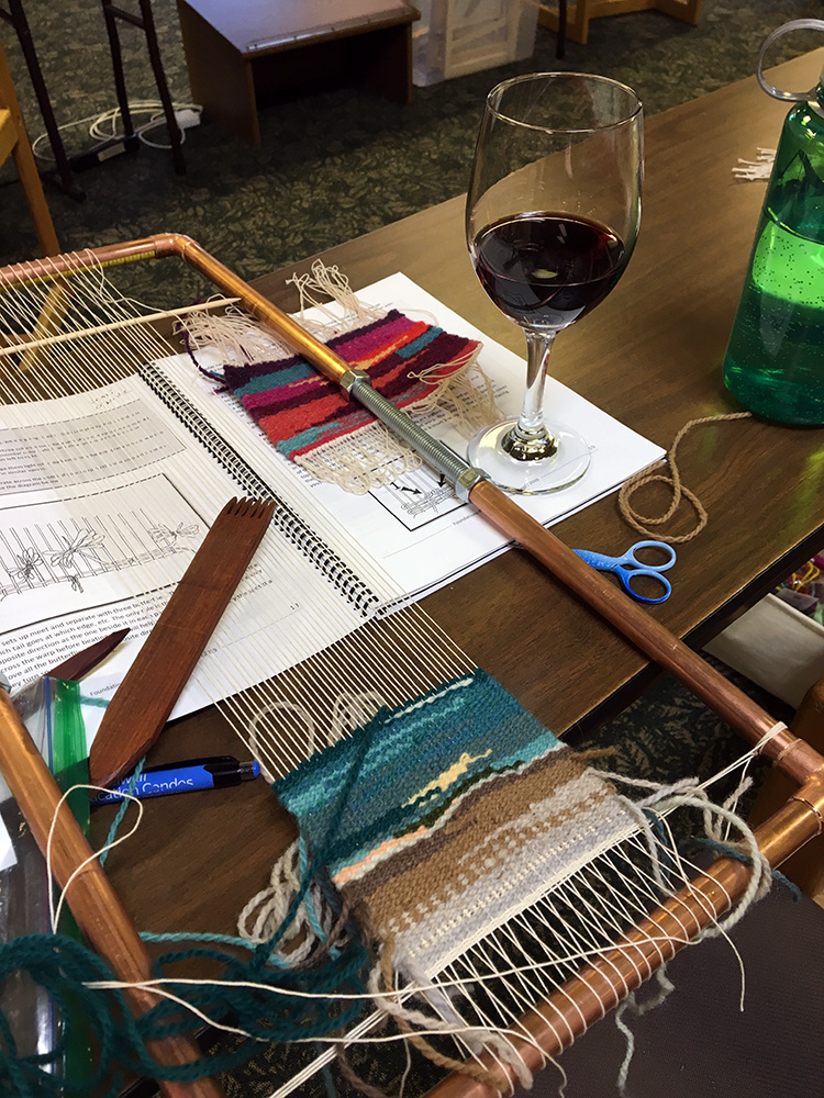Anne's new pipe loom and her interpretation of the beach. Wine was undoubtedly finished after dinner.
