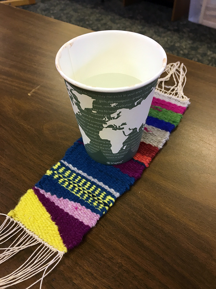 Wanda's first weaving… and apparently it works well for a coaster