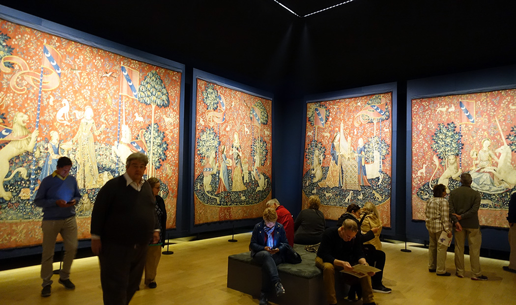 The Lady and the Unicorn tapestries at the Musée de Moyen Age in Paris.