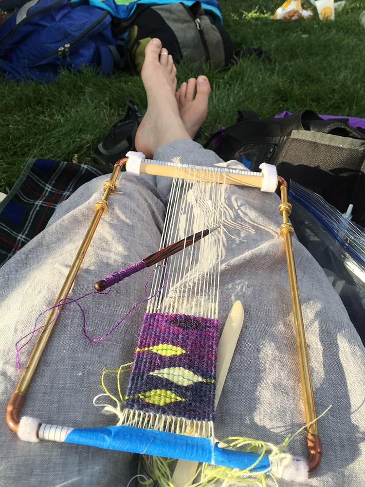Four selvedge tapestry weaving at Rocky Mountain Folks Festival.