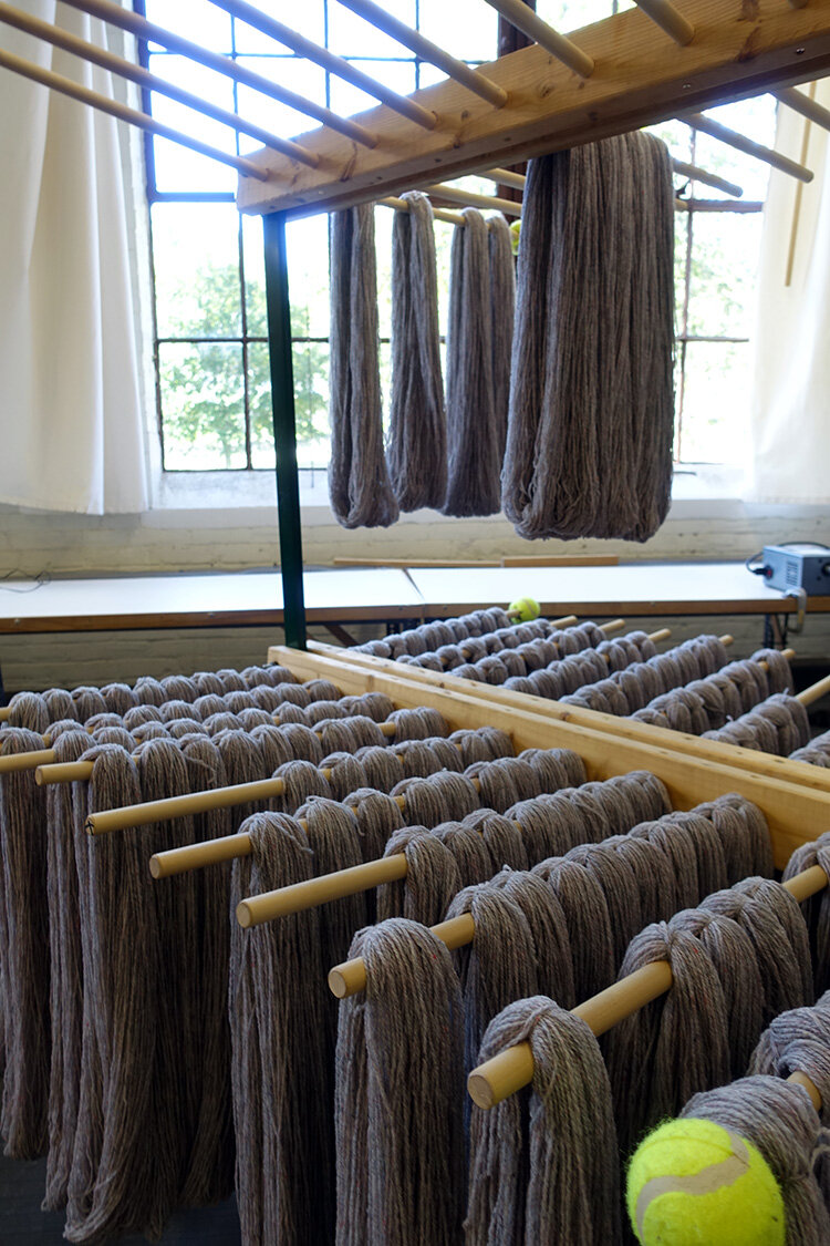 Yarn drying before being skeined at Harrisville Designs.