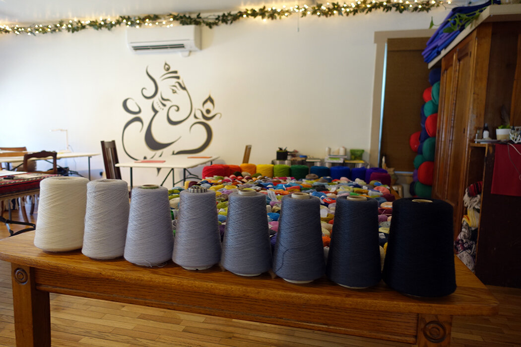 Grayscale yarns used for Rebecca Mezoff's color tapestry retreat in VT.