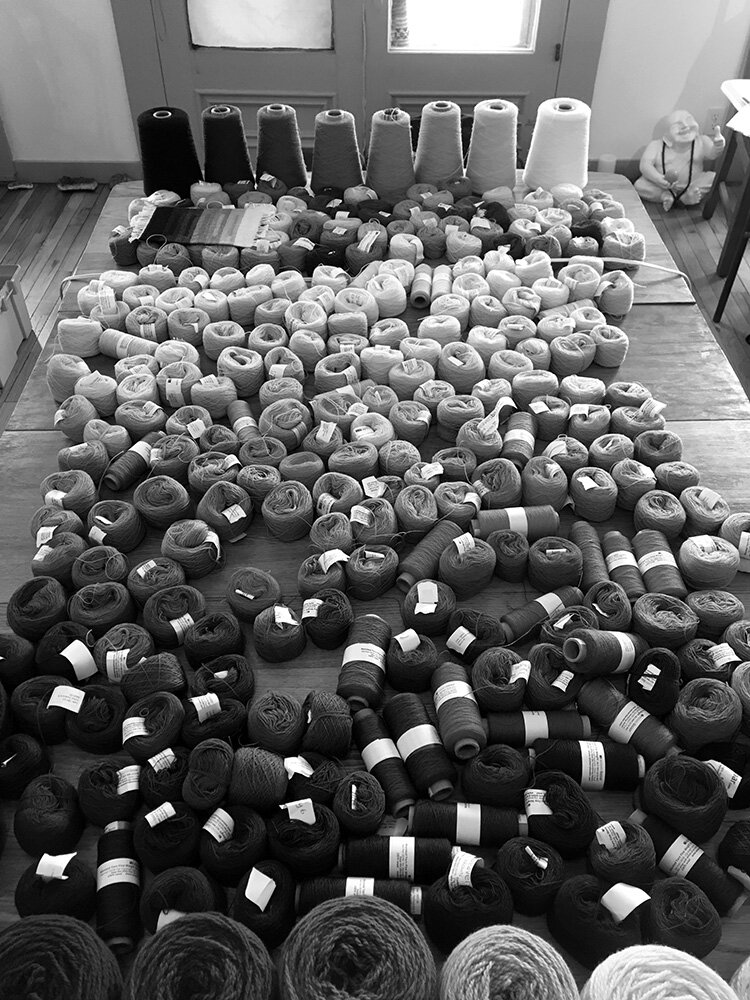 Yarn table arranged by value in black and white.