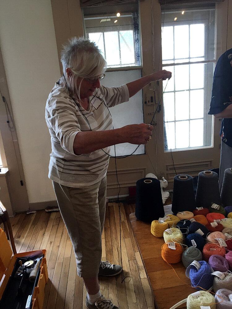 Ramona making weft bundles