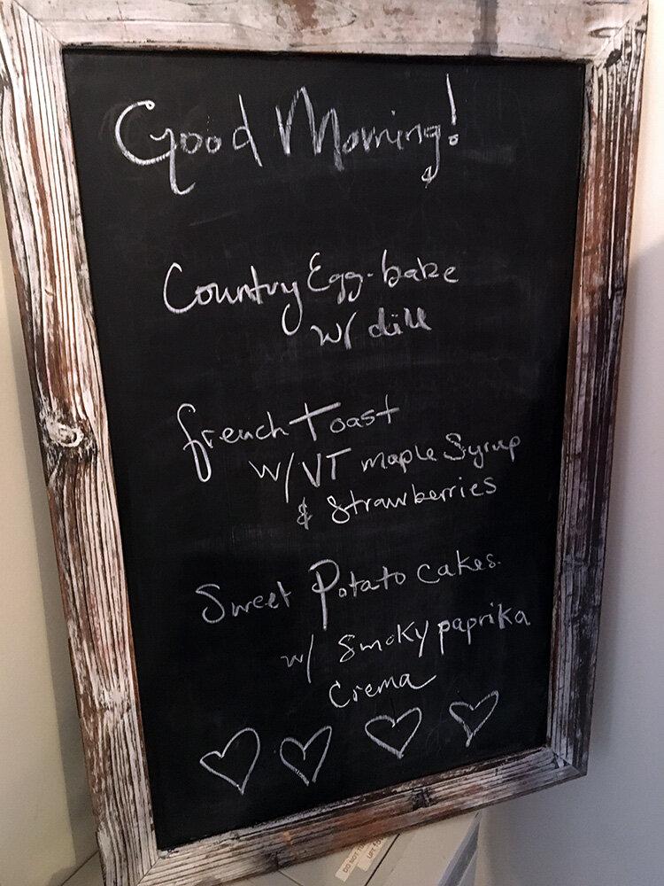 Farewell brunch menu
