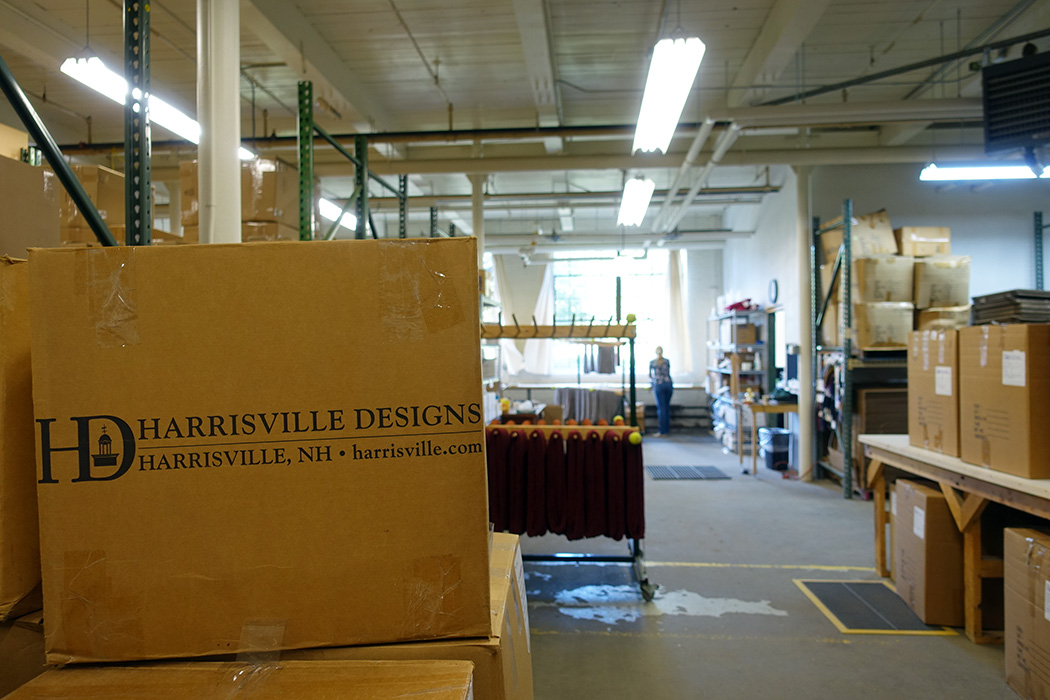 Harrisville Designs yarns being dried, skeined, labeled, and boxed.
