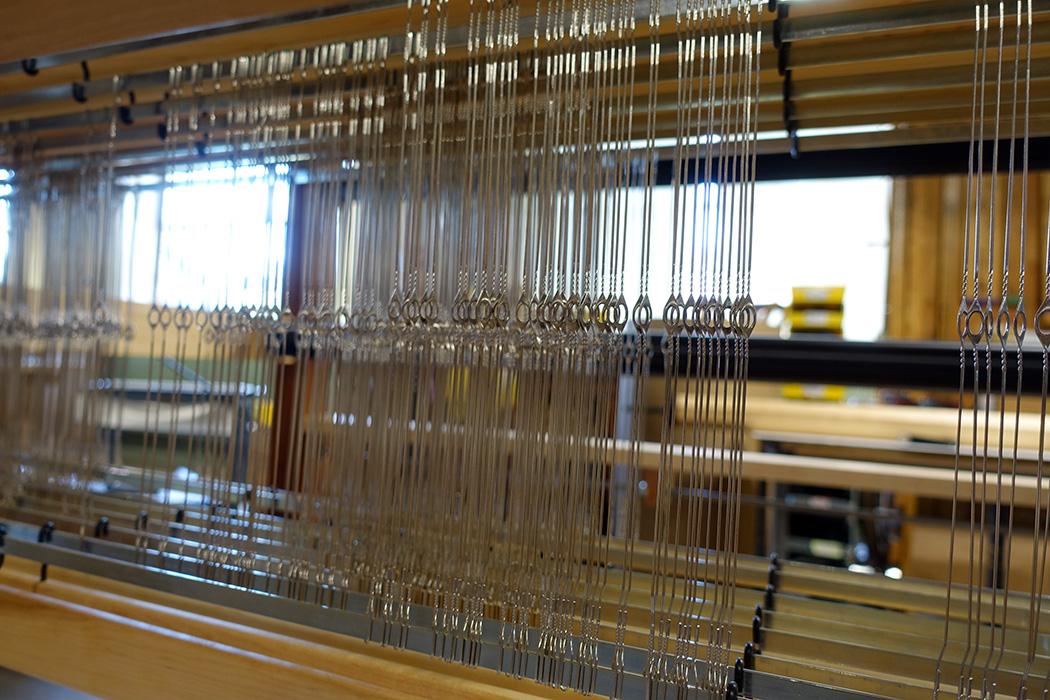 Harrisville rug loom being assembled.