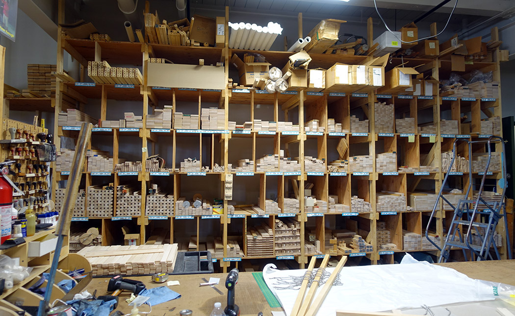Loom parts awaiting assembly in the Harrisville Designs woodshop.