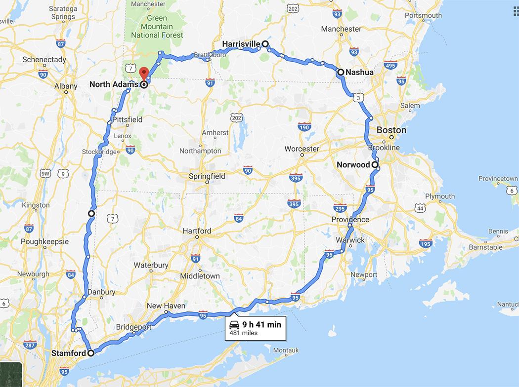 Circumnavigating Massachusetts.