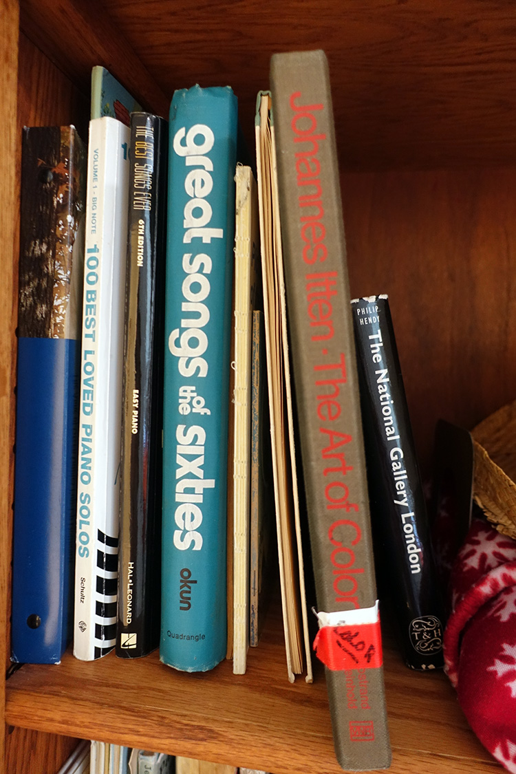 Grandma's books including The Art of Color.