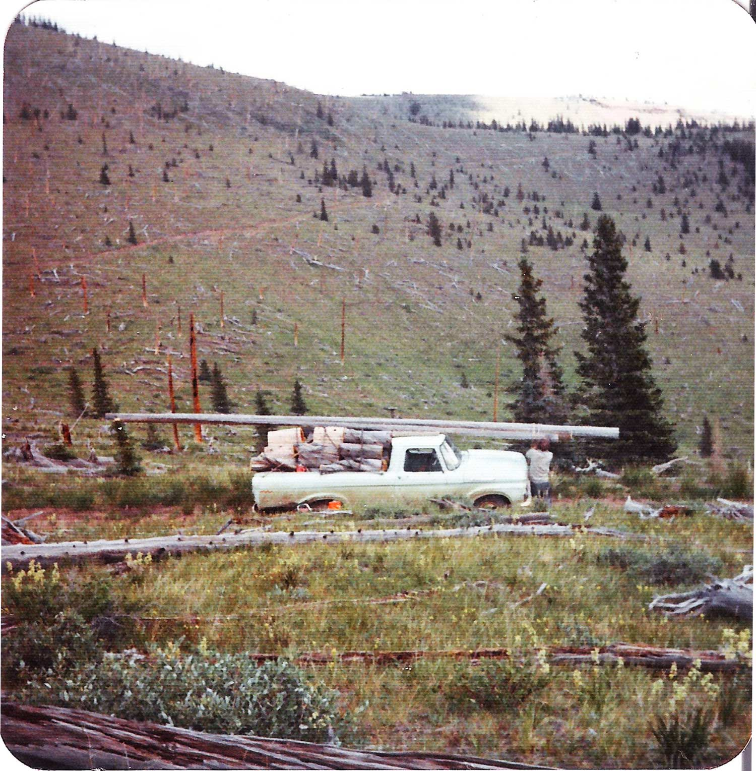 "1961 Ford truck (named ""Grit"") on Bone Mountain. Photo circa mid 1970s."