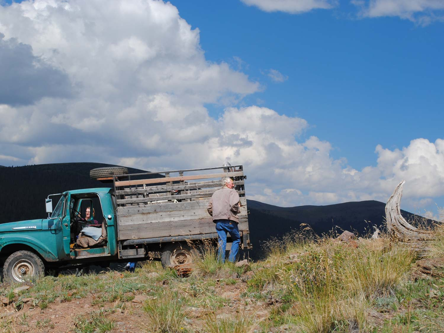 "Harvesting wood on Bone Mountain in a truck named ""Teddy"" under extraordinary skies. Recent photo."