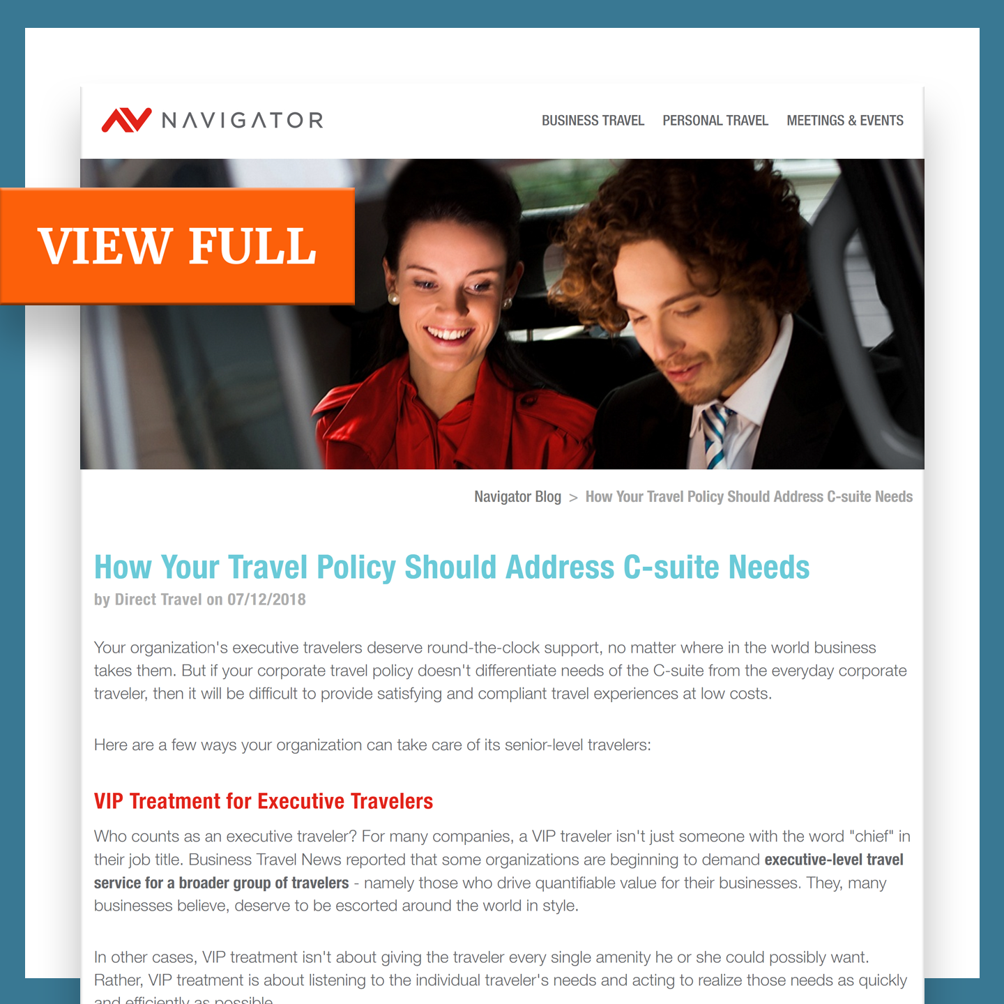 A travel management article example by B2B content writer Alexander Santo.