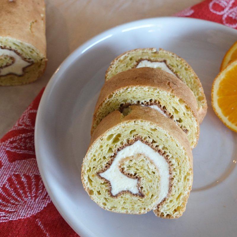 Orange Roll Cake With Saffron Cream Filling