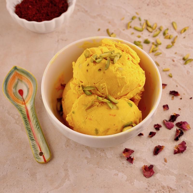 Saffron Rosewater Ice Cream With Pistachios