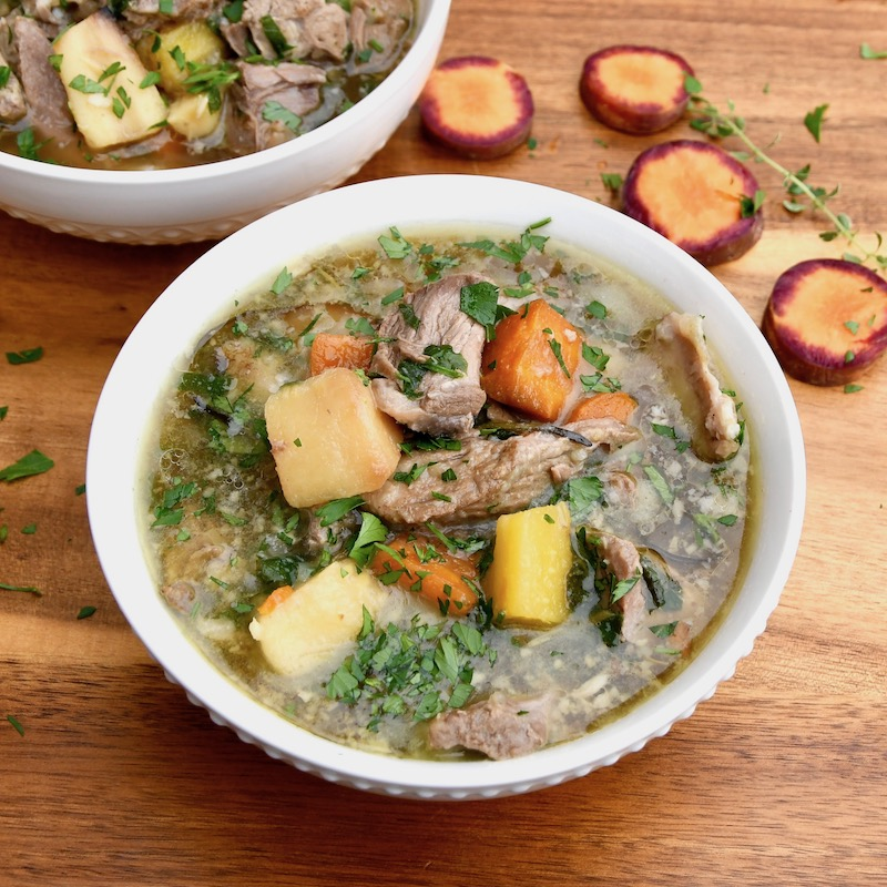 Lamb Soup With Roasted Root Vegetables