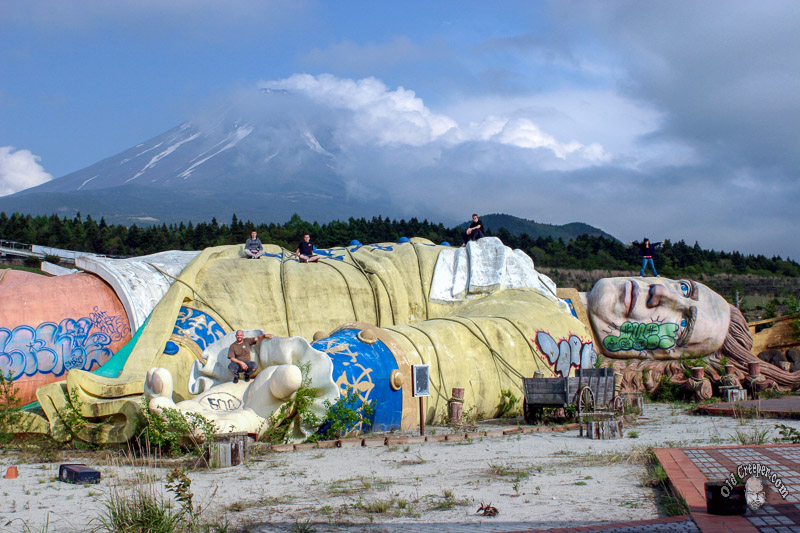 In the shadow of Mount Fuji, a  giant Gulliver  , built in 1997, lies forever tethered to the ground in a disused theme park, his skin and clothes fading in the elements to the muted colours of the surrounding landscape.