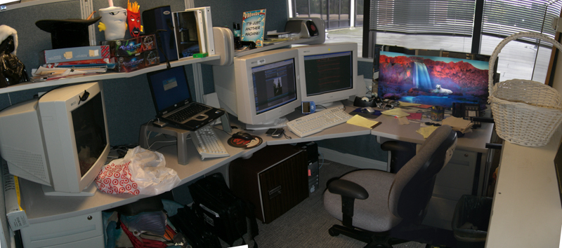 I haven't even had time to take a picture of where I work since I had gigantic CRT monitors.