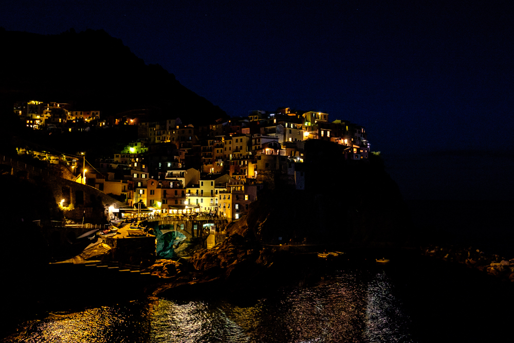 Night time at Cinque Terre, Italy.